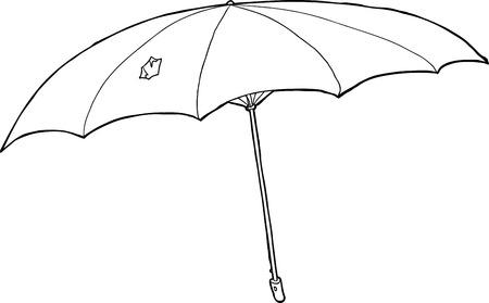 defective: Single hand drawn cartoon outline of damaged umbrella