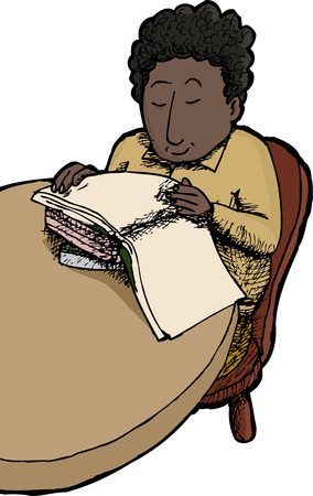 child sitting: Isolated happy child sitting at table reading books Illustration
