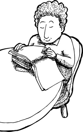 child sitting: Outline cartoon of grinning child sitting at table reading books Illustration