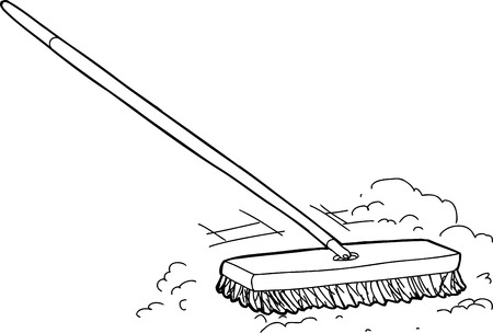 sweeping: Outlined cartoon push broom sweeping dust over white