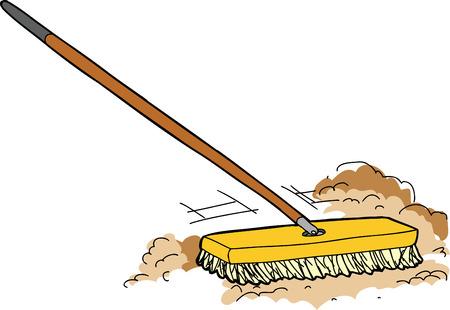 Geïsoleerde cartoon push bezem vegen weg stof