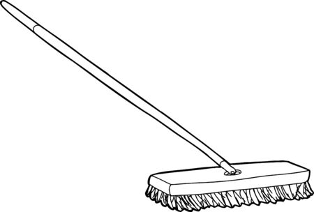 Outlined push broom illustration over white background