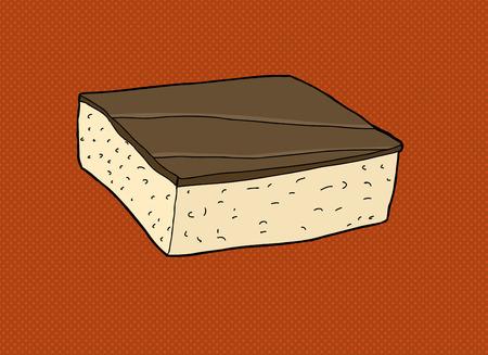 갈색 배경 위에 손으로 그린 초콜릿 케이크 만화 일러스트