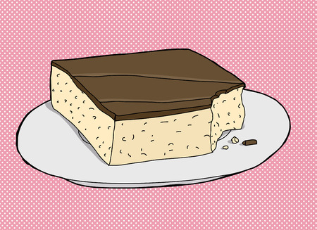 fudge: Square cake slice with missing bite over pink