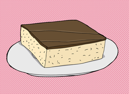 chocolate brownie: Chocolate cake slice on plate over pink illustration