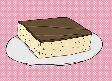 Chocolate cake slice on plate over pink illustration