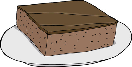 Isolated cartoon brownie on plate over white background