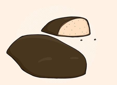 Dibujado a mano piezas de dibujos animados de dulces de chocolate Foto de archivo - 38293362
