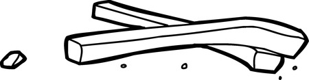Hand drawn outline doodle of potato crisps over white