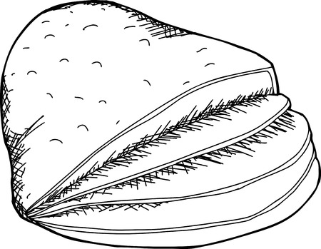 Cartoon outline of baked ham with slices Illustration