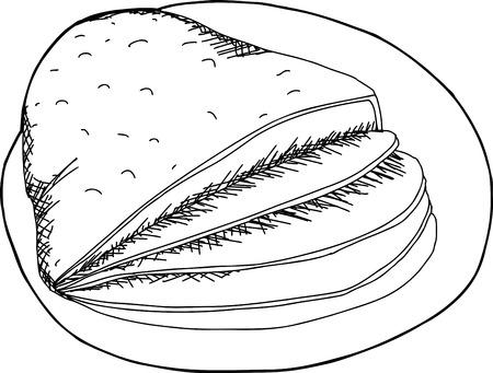 sliced: Cartoon esquema de lonchas de jam�n en un plato