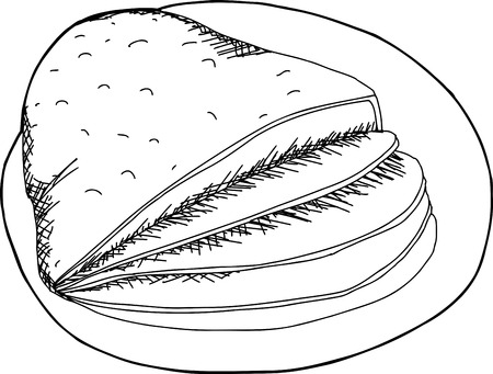 Outline cartoon of sliced ham on plate Illusztráció