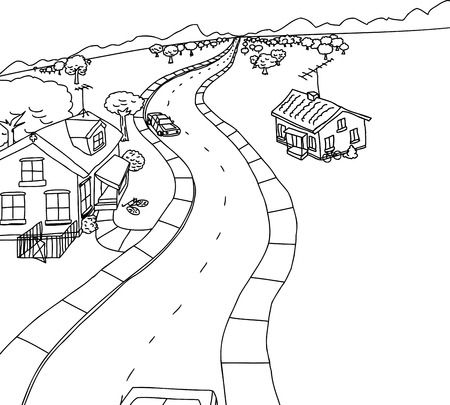Cartoon outline scene of cars on road with homes Illustration