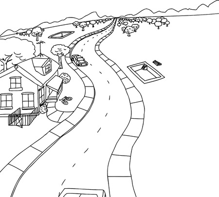 rural road: Cartoon outline housing construction scene near mountains Illustration
