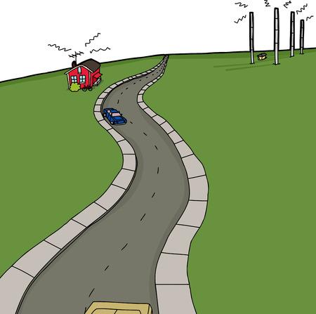 Hand drawn cartoon background road and radio antenna towers Illustration