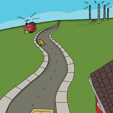 Little red house with bike receiving radio transmission Illustration
