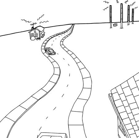 tv tower: Outline cartoon of small town and tall radio towers Illustration