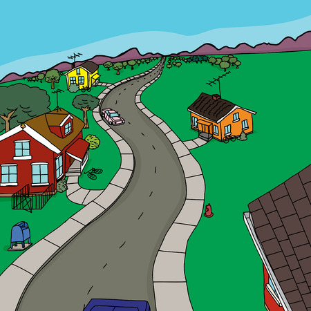 rural road: Four houses along road leading to mountains Illustration
