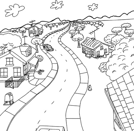 Outline cartoon of four homes along rural road