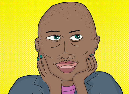 shaved head: Cute lady with green eyes and shaved head Illustration