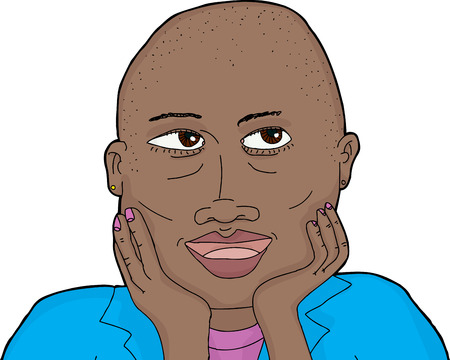 Illustration of woman with shaved head and hands on chin Vector