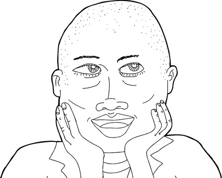 shaved head: Outline of beautiful African woman with shaved head Illustration