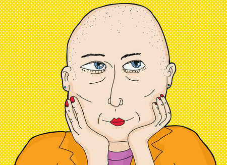 shaved head: Cartoon of thoughtful grinning lady with shaved head