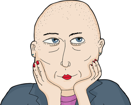 shaved head: One isolated grinning woman with shaved head