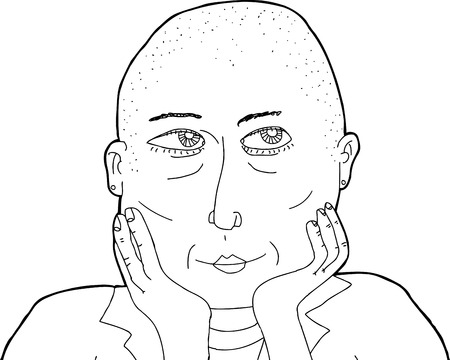 shaved head: Outline cartoon of thinking woman with shaved head