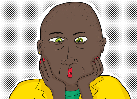 shaved head: Cartoon of confused bald African woman with green eyes Illustration