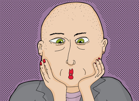 shaved head: Cartoon of amazed bald woman with green eyes