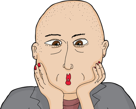 shaved head: Isolated surprised European lady over white background