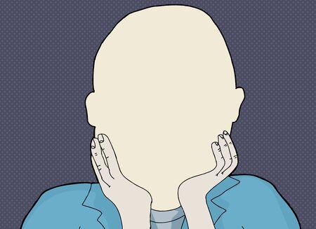 Blank human face cartoon illustration over blue