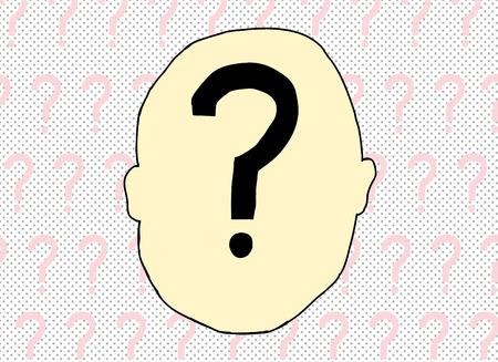 Illustratie van vraagteken binnenkant van het menselijk hoofd