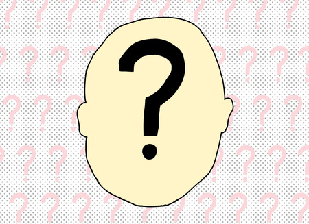 Illustration of question mark inside of human head