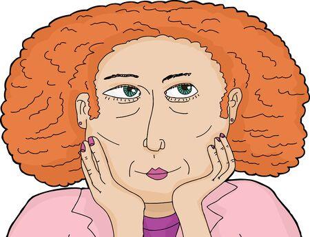 cheeks: Curious white female with red curly hair