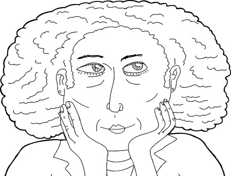 hand on chin: Hand drawn outline of calm female with hands on chin