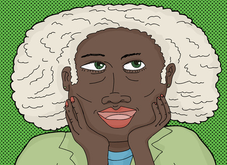 middle aged woman: Cute mature African woman with hands on chin