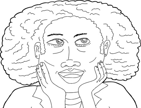 hand on chin: Cute smiling female with curly hair in outline