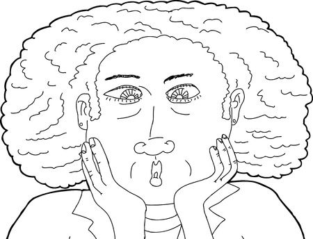 middle aged woman: Outline illustration of cross eyed middle aged woman Illustration