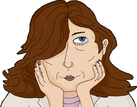 daydreaming: Isolated head of daydreaming lady holding face Illustration