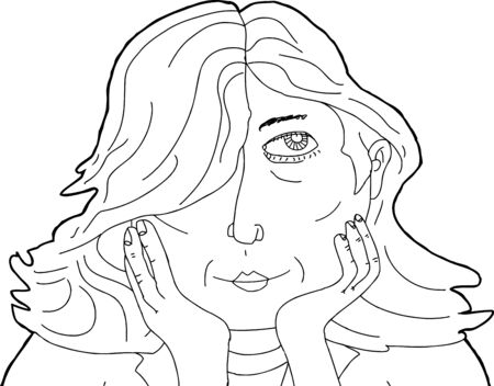 CHIN: Illustration of beautiful Caucasian woman with chin in hands