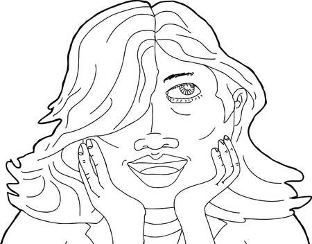 CHIN: Outline of happy single woman with hands on chin