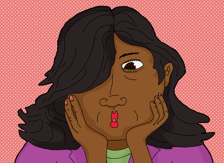 single eyed: Surprised Asian woman with hands on chin Illustration