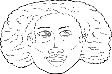 woman looking up: Outline illustration of happy Black woman looking up