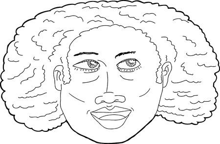 frau nach oben schauen: Outline-Illustration von gl�cklich Schwarze Frau, die oben Illustration