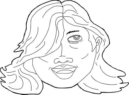 daydreaming: Happy Latina adult close up outline illustration Illustration