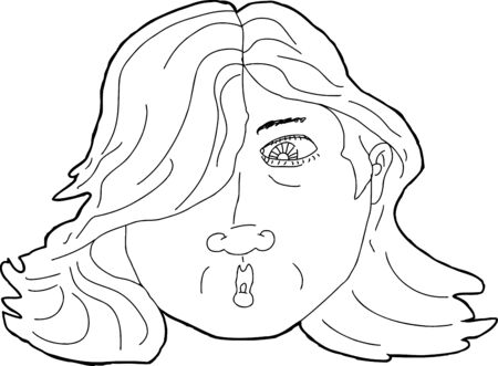single eyed: Outline illustration of face of surprised Latino woman