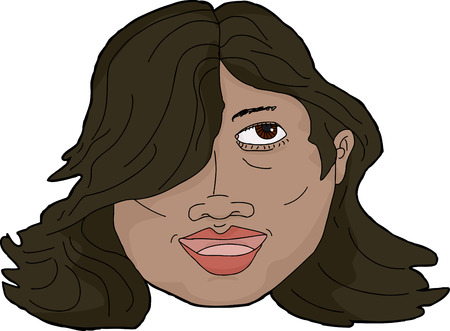 smile close up: Face of beautiful Hispanic woman over white background Illustration