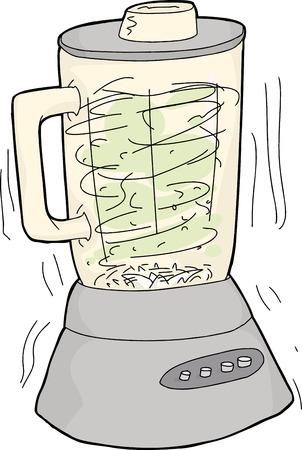hand drawn cartoon: Con una sola mano dibujo animado hecho de cortar los alimentos licuadora